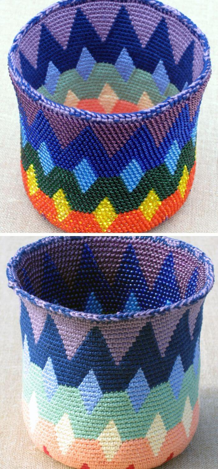 Reversible Bead Tapestry Crochet Basket