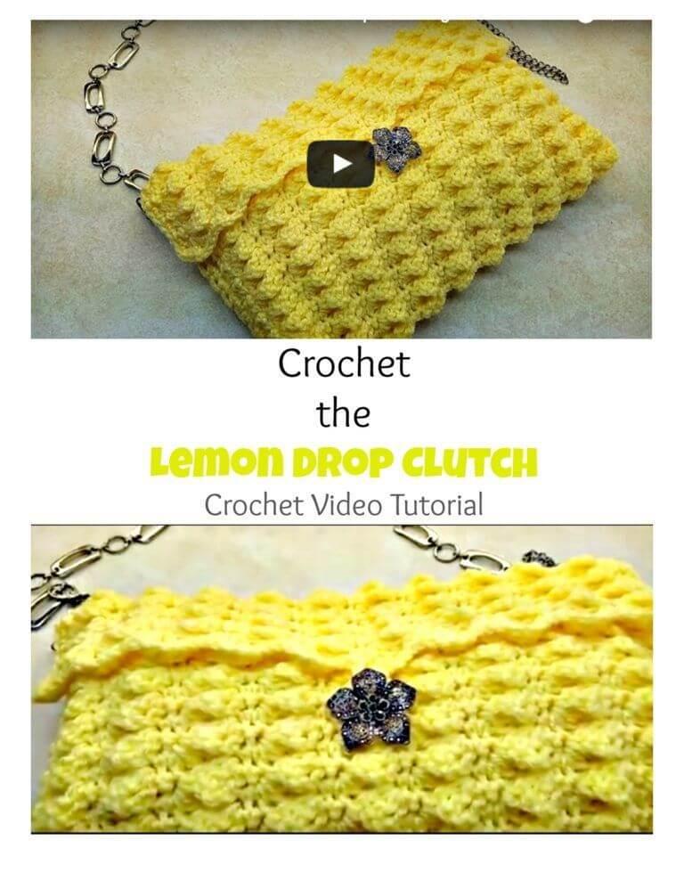 Crochet lemon drop handbag