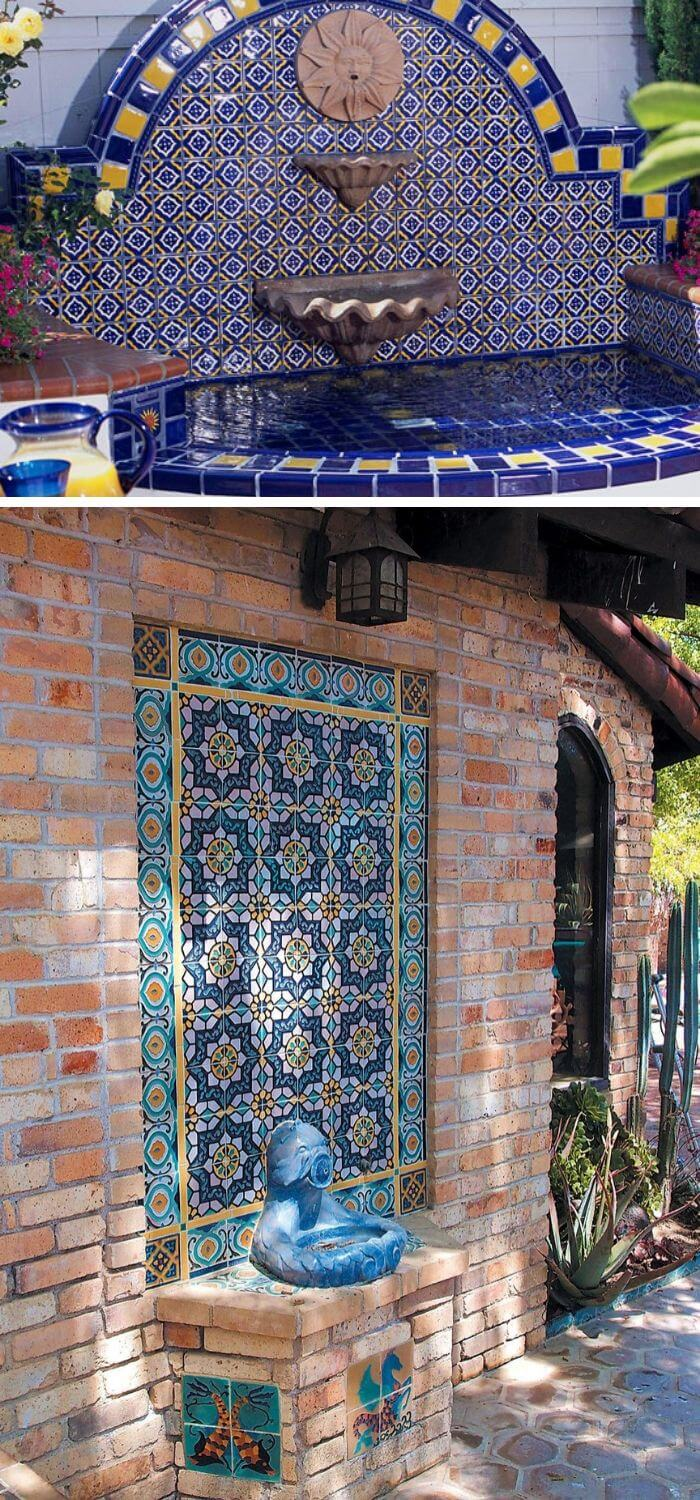Moorish-Style Tiles Finish a Wall Fountain