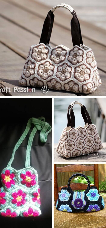 The African flower hexagon crochet stitch handbag