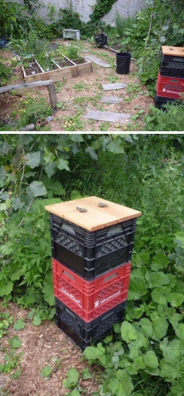 Milk Crate Compost Bin