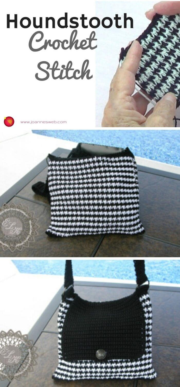 Houndstooth stitch handbag