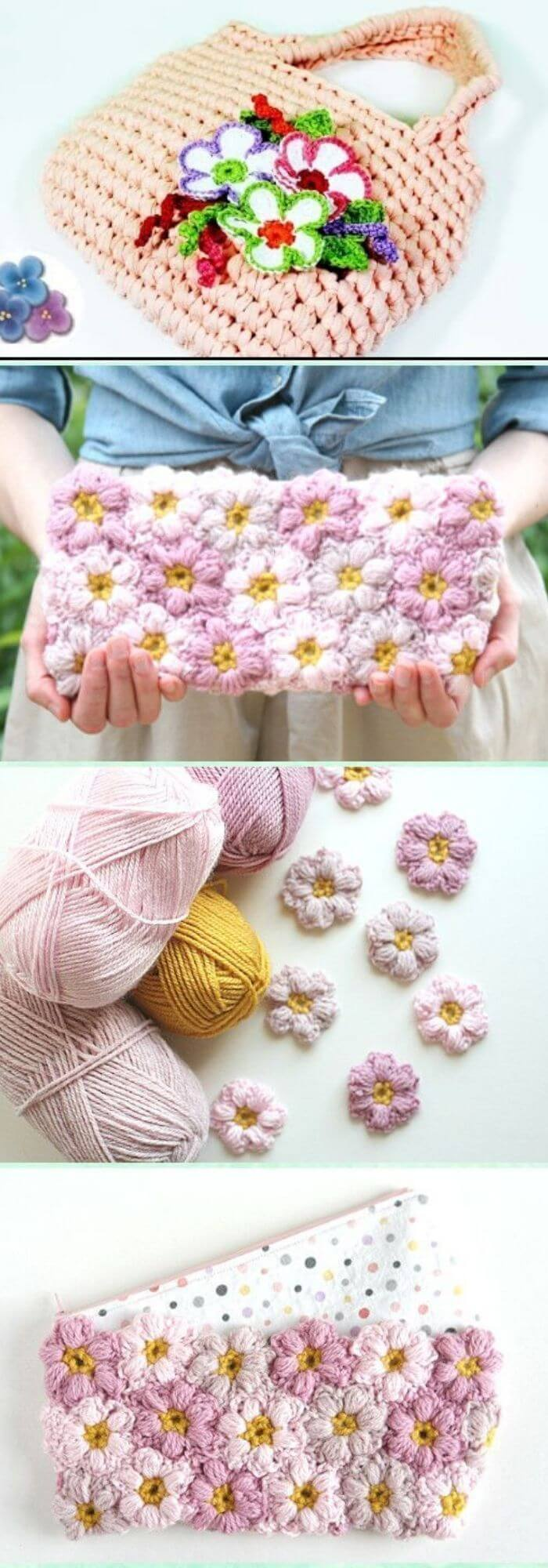 Crocheting a bag with flowers