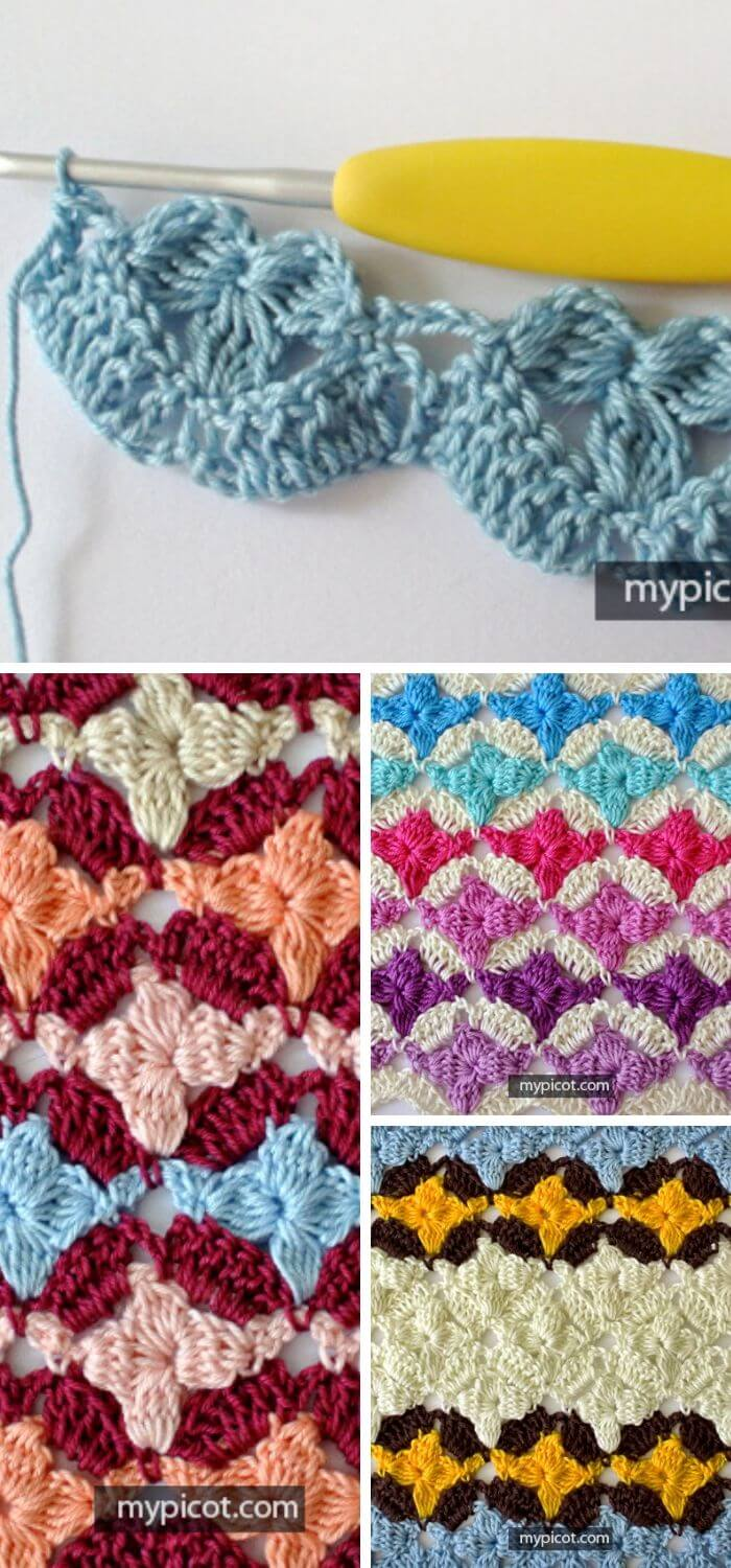 The crochet Cluster flower stitch