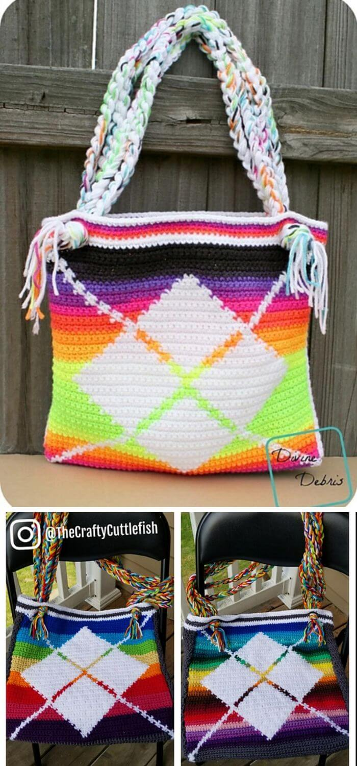 The argyle crochet purse
