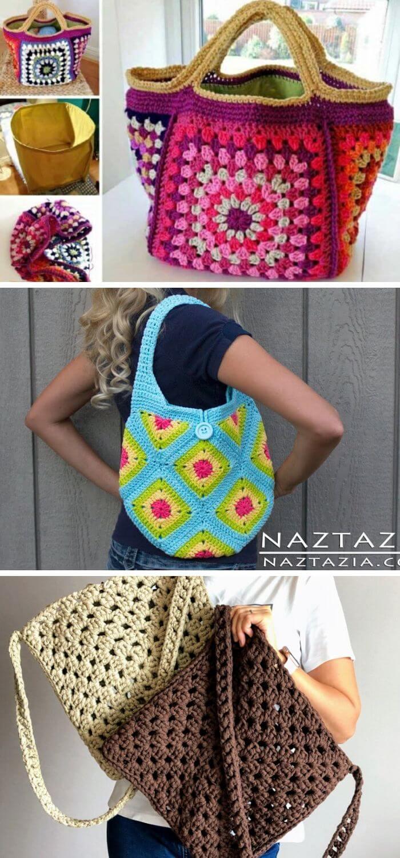 Crochet granny square purse