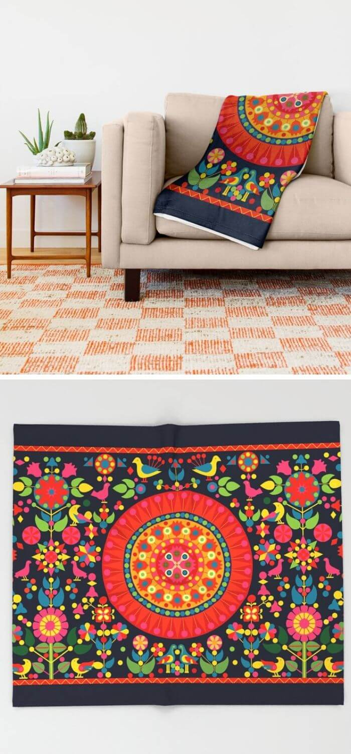 The colorful tapestry blanket