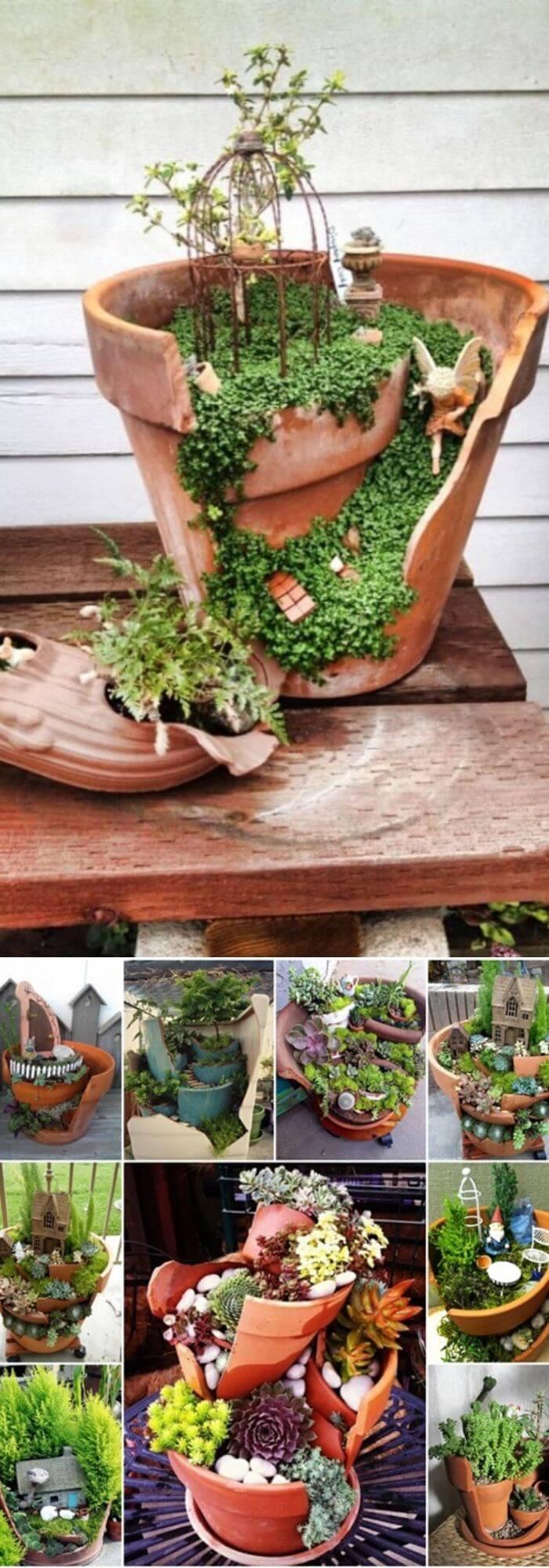 Broken Pottery Succulent Garden