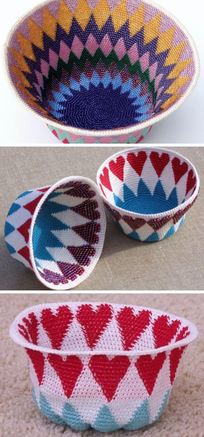 Here is another reversible bead crochet basket