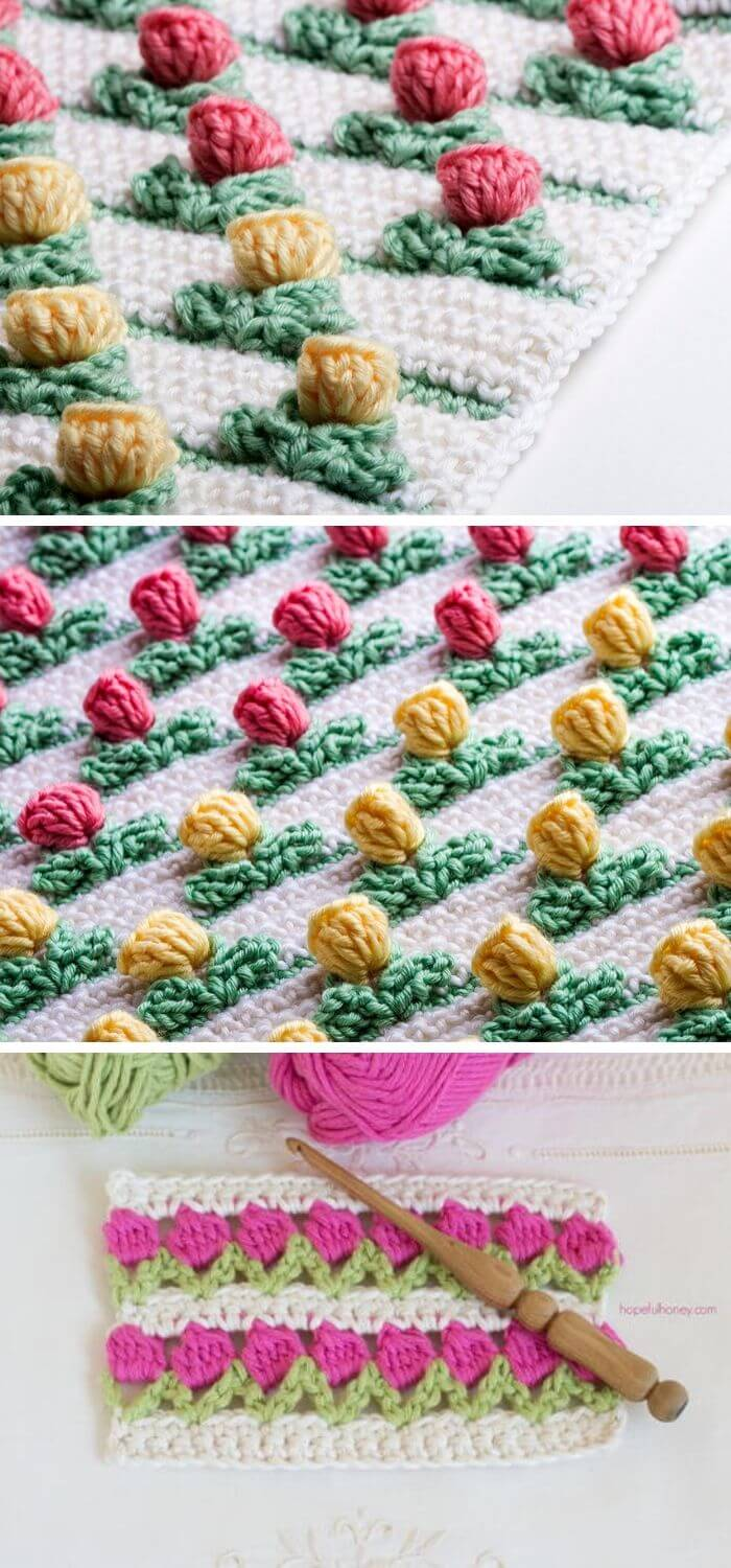 The inline pop out tulip stitch