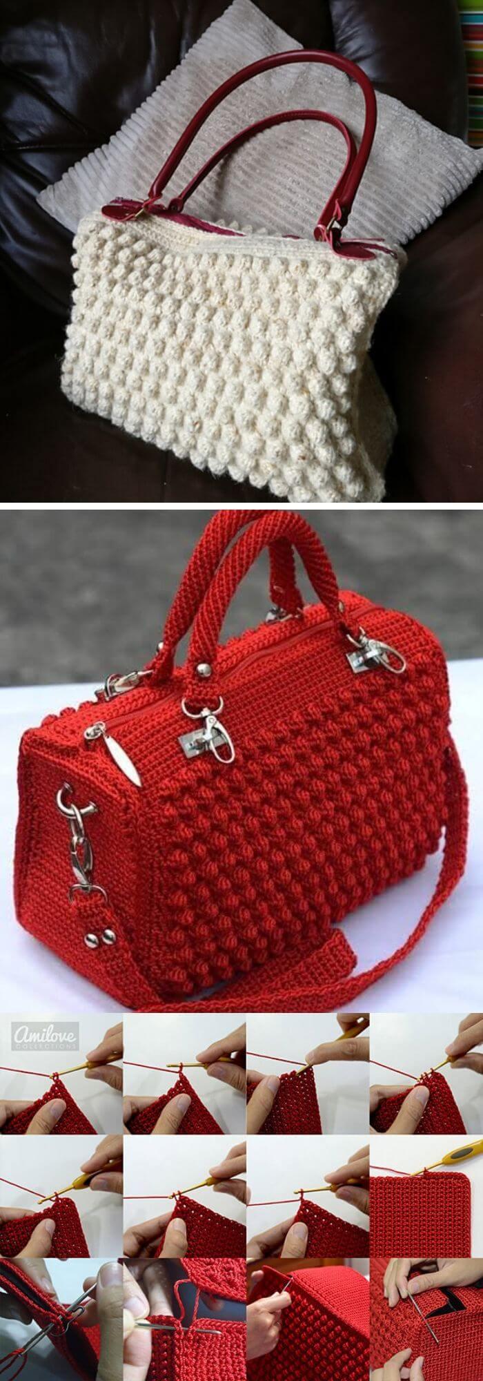 The bobble stitch handbag