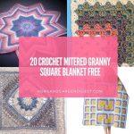 20 Crochet Mitered Granny Square Blanket Free Patterns
