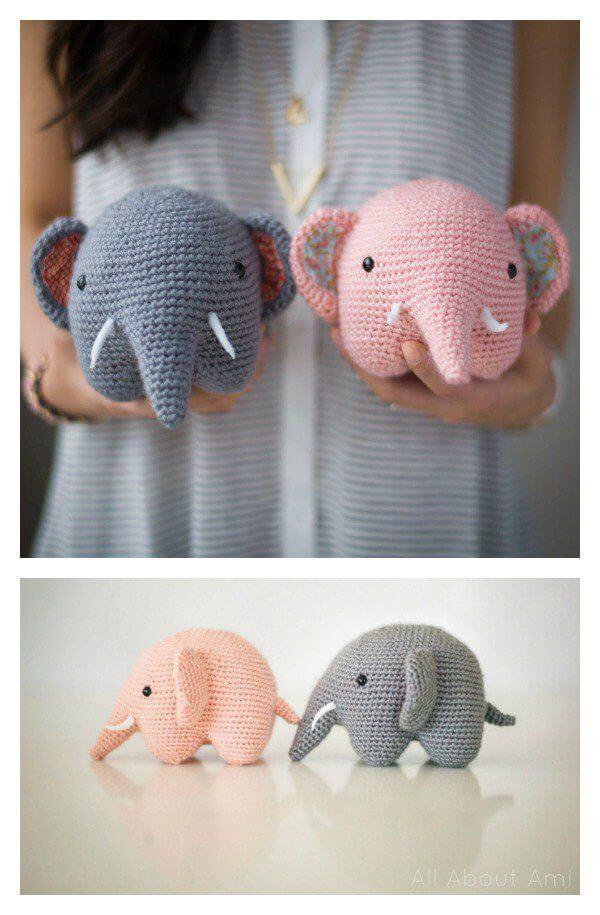 Amigurumi Crochet Elephant AMIGURUMI (20 centimeters) WOVEN ... | 915x600