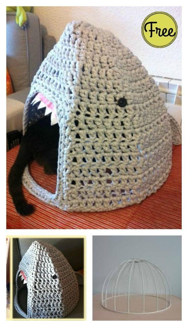 Crochet Round Cat Nest House Free Pattern - Crochet Cat House ... | 1043x600