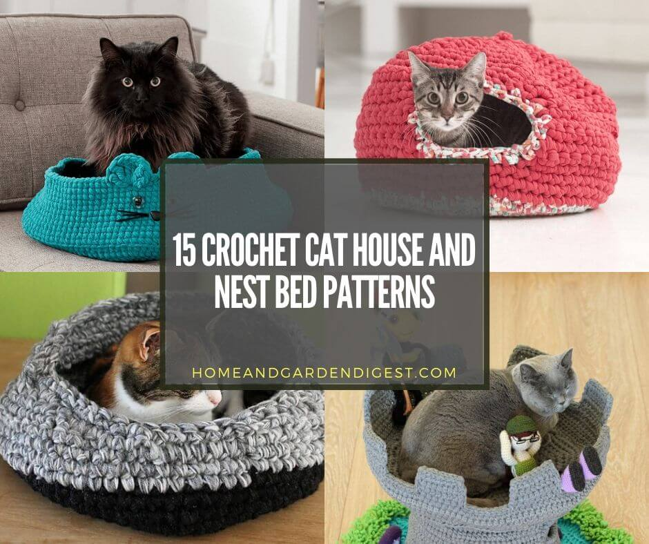 This kitty bed is crocheted while holding two strands of yarn ... | 788x940
