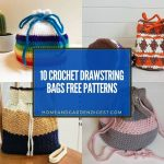 10 Crochet Drawstring Bags Free Patterns