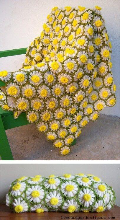 Vintage Daisy motif blanket