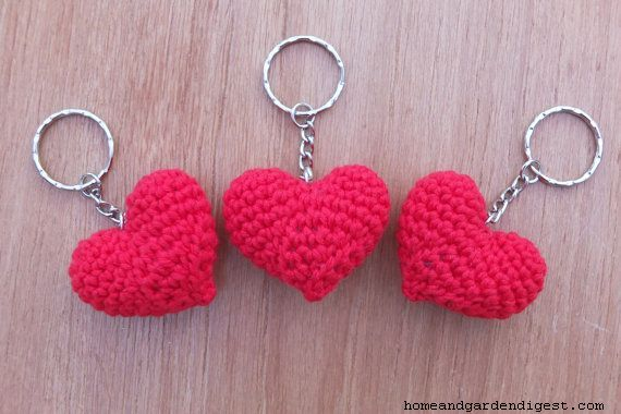 DIY crochet heart Key-chain
