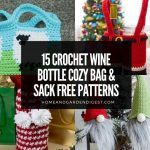 15 Crochet Wine Bottle Cozy Bag & Sack Free Patterns